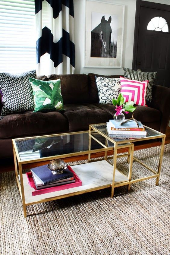 16 Gold spray paint and faux marble your Vittsjö nesting coffee table Simphome com