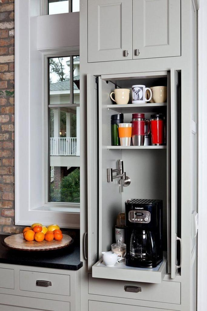 cabinet coffee station