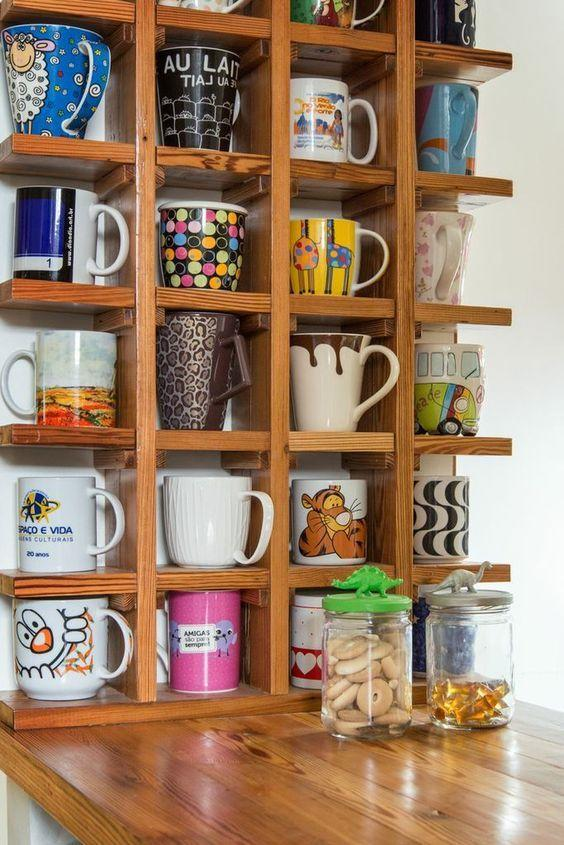 light colored wooden mug storage