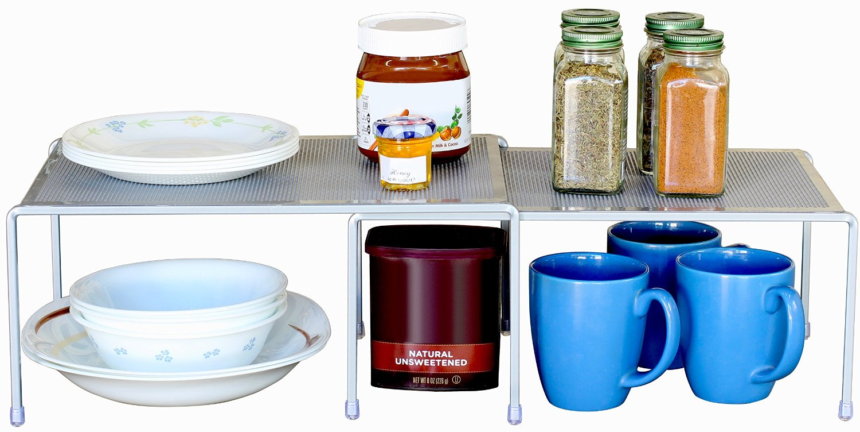 DecoBros Expandable Stackable Kitchen Cabinet and Counter Shelf Organizer via simphome 2
