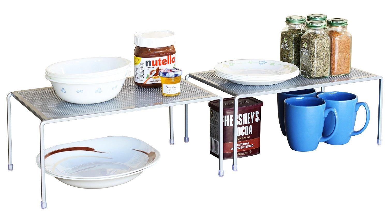 DecoBros Expandable Stackable Kitchen Cabinet and Counter Shelf Organizer via simphome 4