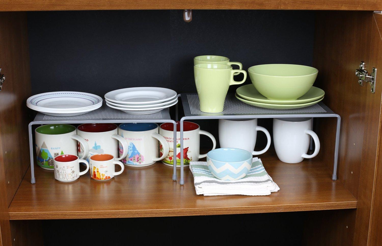 DecoBros Expandable Stackable Kitchen Cabinet and Counter Shelf Organizer via simphome 5