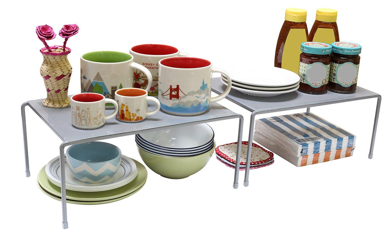 DecoBros Expandable Stackable Kitchen Cabinet and Counter Shelf Organizer via simphome 6