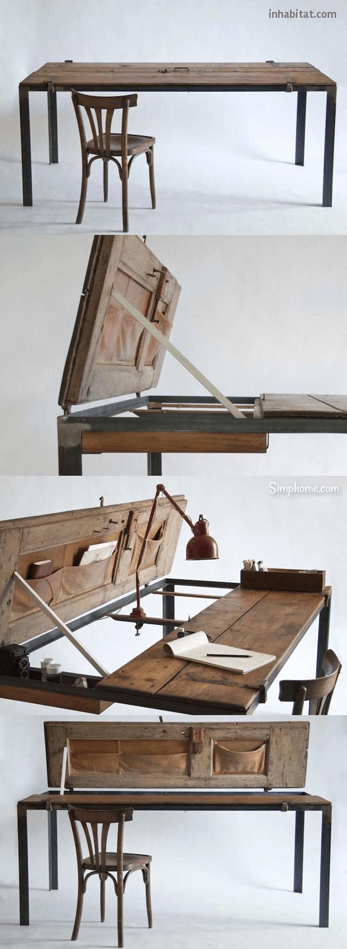 Manoteca Reincarnates a Vintage Door as a Rustic Desk 18 Simphome com p