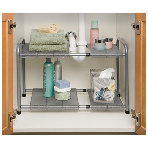 Seville Classics Expandable Under Sink Shelf with Steel Mesh and Removable Panels via simphome