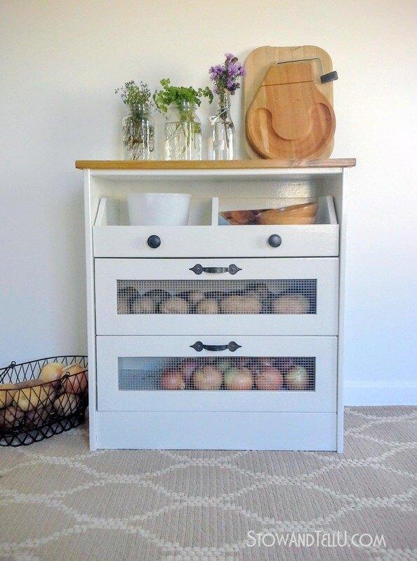 27 Potato and vegetable bin IKEA rast hack featured at www simphome com