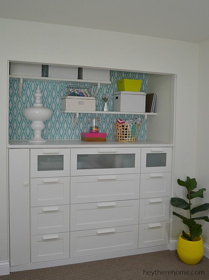 5 A nice built in shelves from 3 IKEA Brimnes Dressers featured at www simphome com