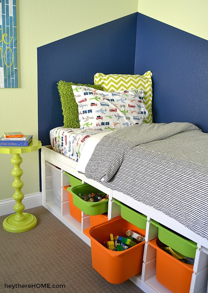 7 DIY Twin Storage Bed from two IKEA TROFAST 37 x 17 storage shelves featured at www simphome com