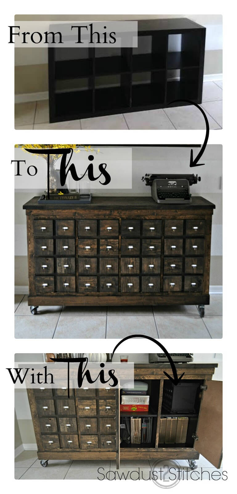 9 Ikea Cubbies into a Rustic Apothecary featured at www simphome com