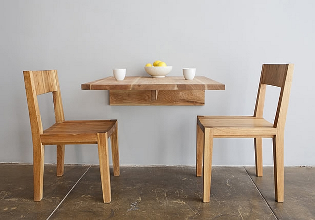 Minimalist wooden wall mounted dining table
