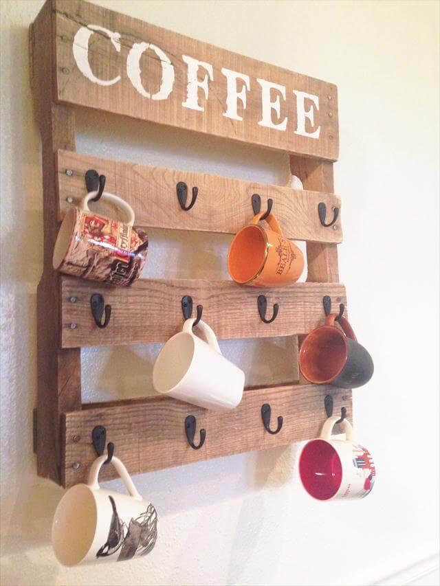 handmade pallet coffee cup holder