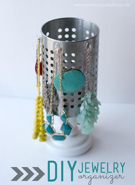24. DIY Jewelry Organizer With Ikea Utensil Holder