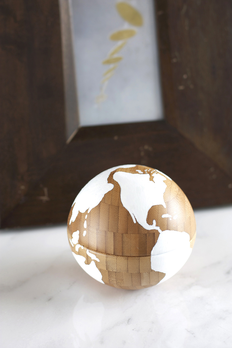 3. DIY globe accessory with two IKEA bowls.
