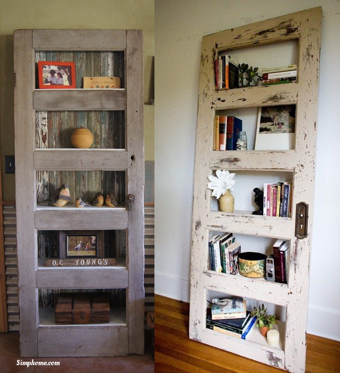 A Book Shelf repurposed old door Simphome com