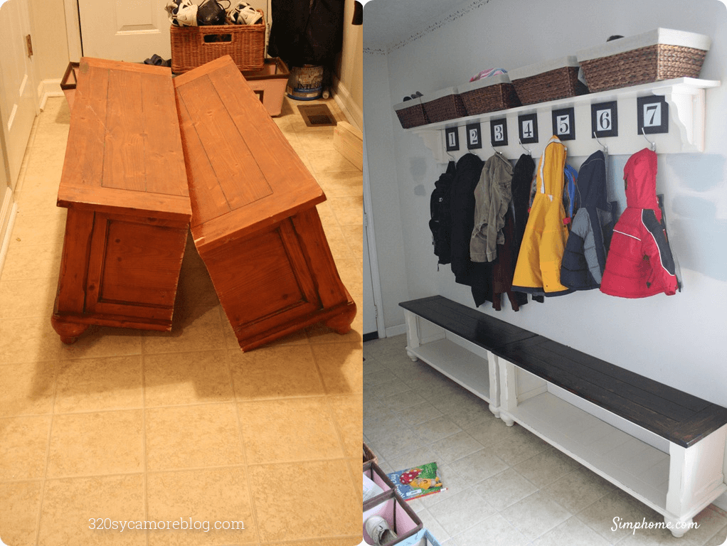 Cut Up Table to Create a New Entryway Benches 26 Simphome com