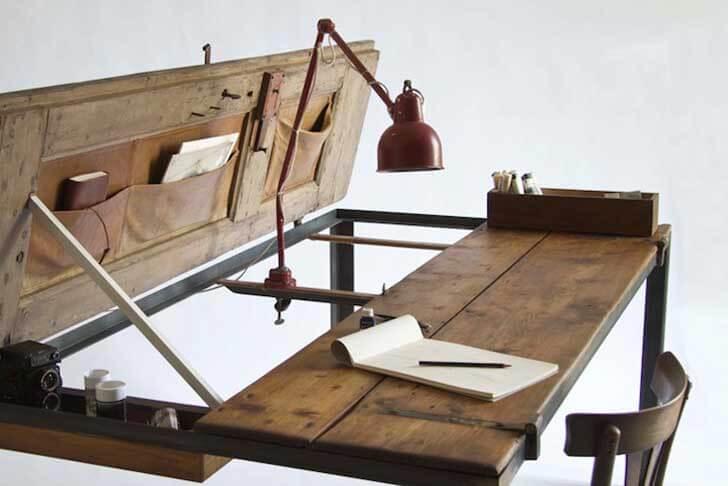 Manoteca Reincarnates a Vintage Door as a Rustic Desk 18 Simphome com
