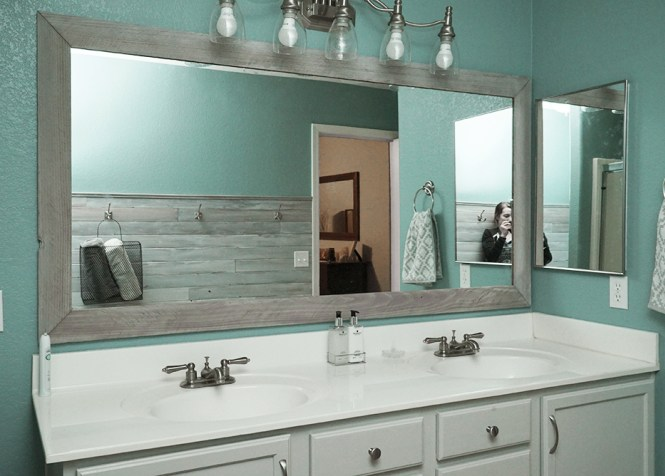 DIY Bathroom mirror makeover Simphome com After