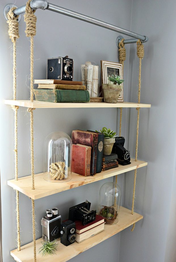 DIY Suspended Wooden Shelf via simphome