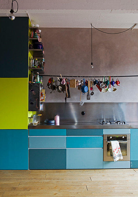10 Go Eclectic with Bold Cabinets via Simphome com