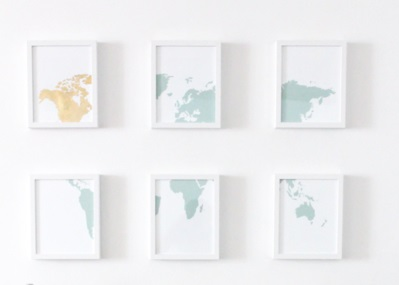18 DIY GOLD LEAF MAP ART Simphome com