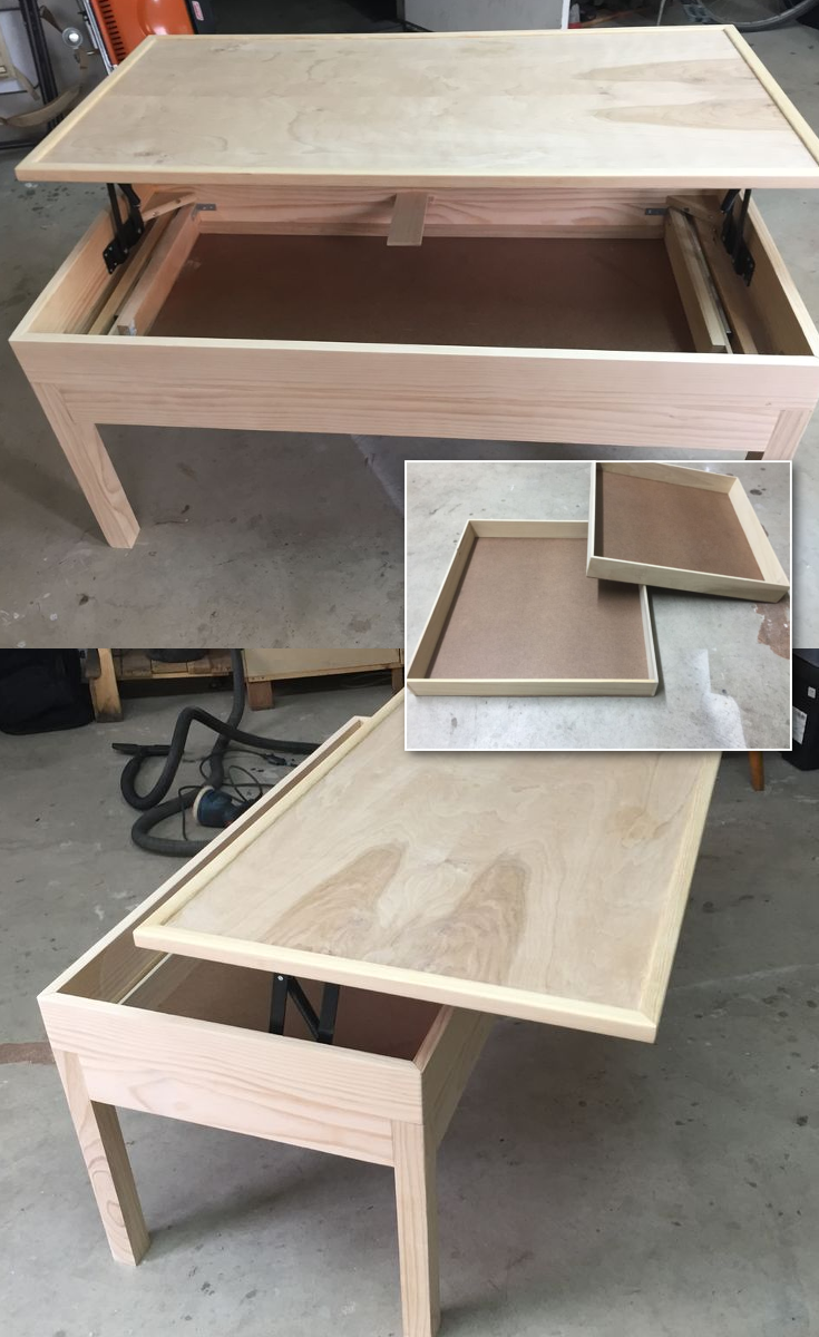 LIFT TOP COFFEE TABLE With HIDDEN DRAWER via simphome