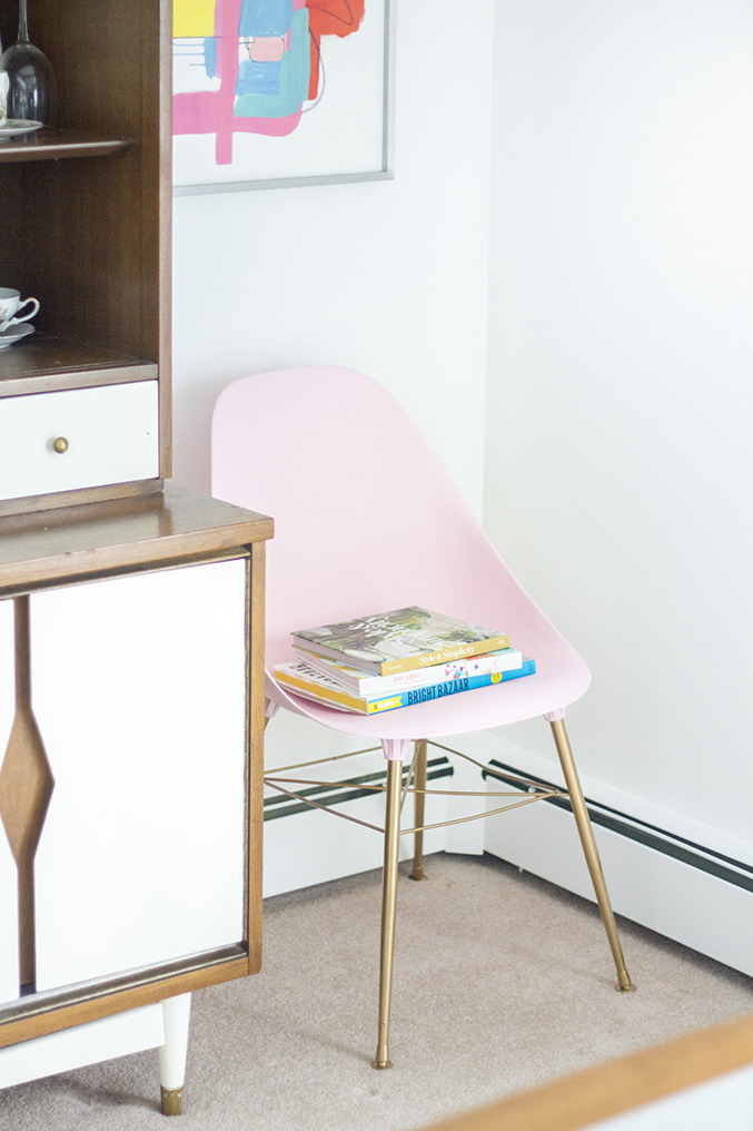04 DIY Blush Pink Mid Century Side Chair Makeover Simphome com