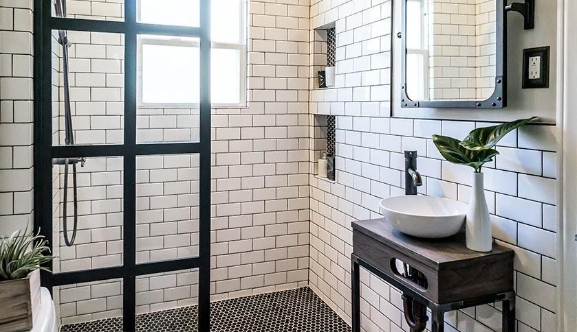 3 White Subway Tiles and Tiny Black Mosaic Tiles Simphome com