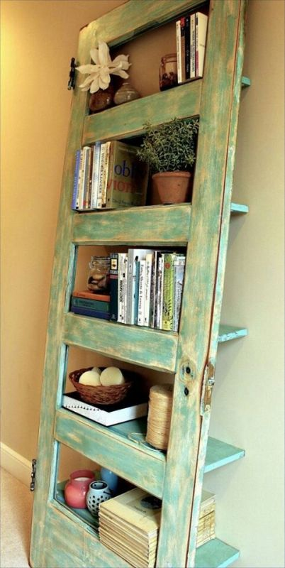 33 Old Door for Book Shelf via simphome