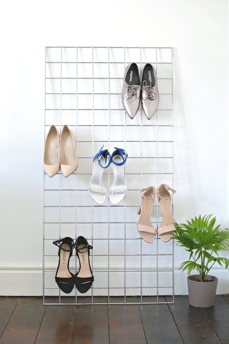 4 DIY Grid Shoe Storage Display Simphome com