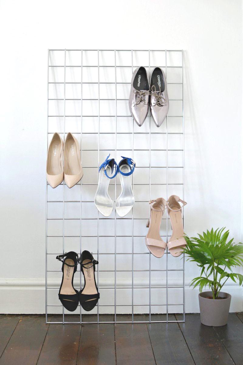 4 DIY Grid Shoe Storage Display Simphome com