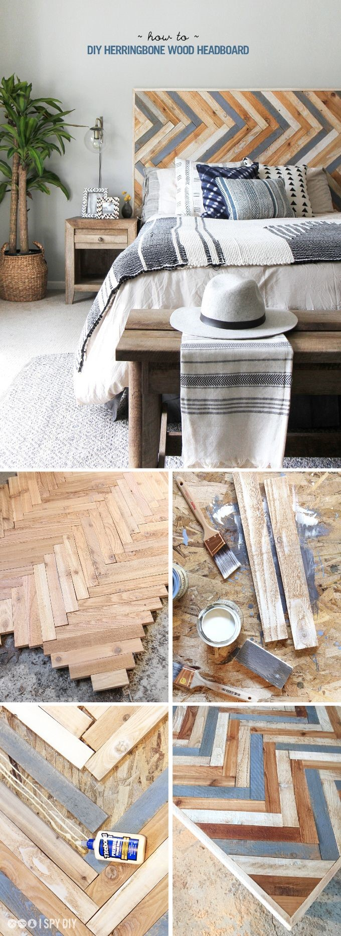 1 DIY Herringbone Wood Headboard Simphome com