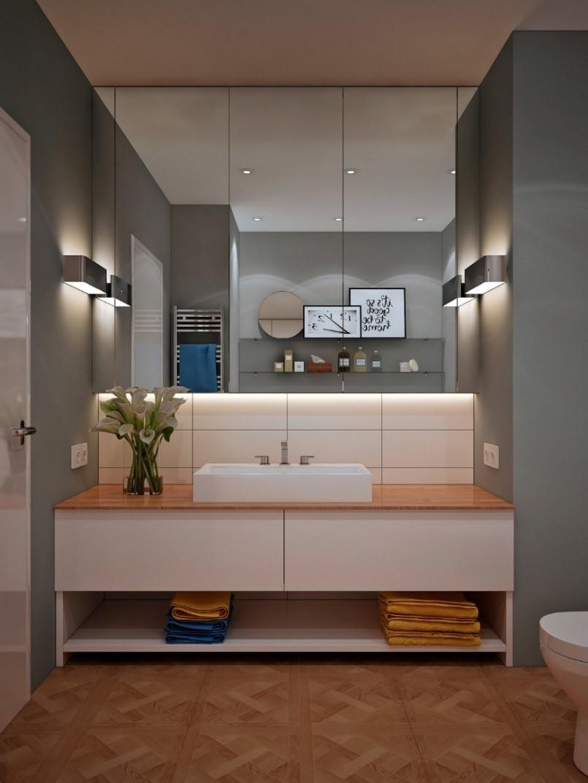 10 White Top Mount Sink in A Gray Modern Bathroom Simphome com