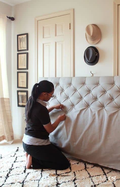 28 DIY Diamond Tufted Headboard homemadebycarmona simphome