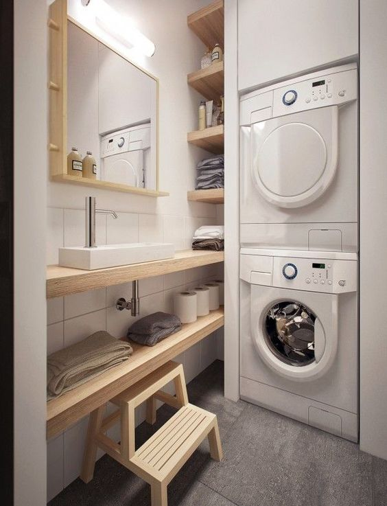 38 Tiny laundry room with saving space ideas by Homemydesign Simphome