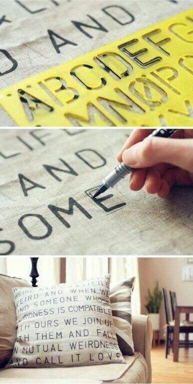 5 DIY Stencil pillow Simphome