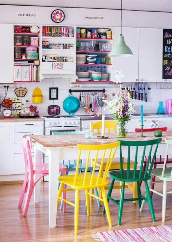 62 colourful kitchen with painted dining chairs Simphome