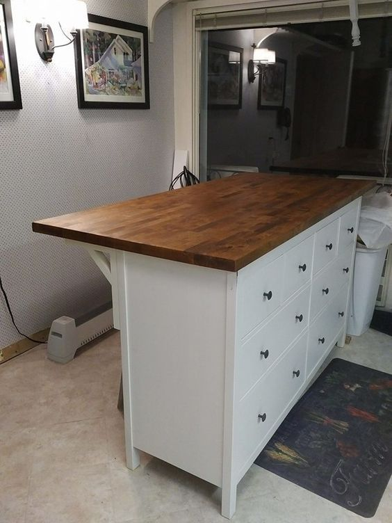 74 kitchen island with the Karlby countertop and HEMNES chest of 8 drawers Simphome