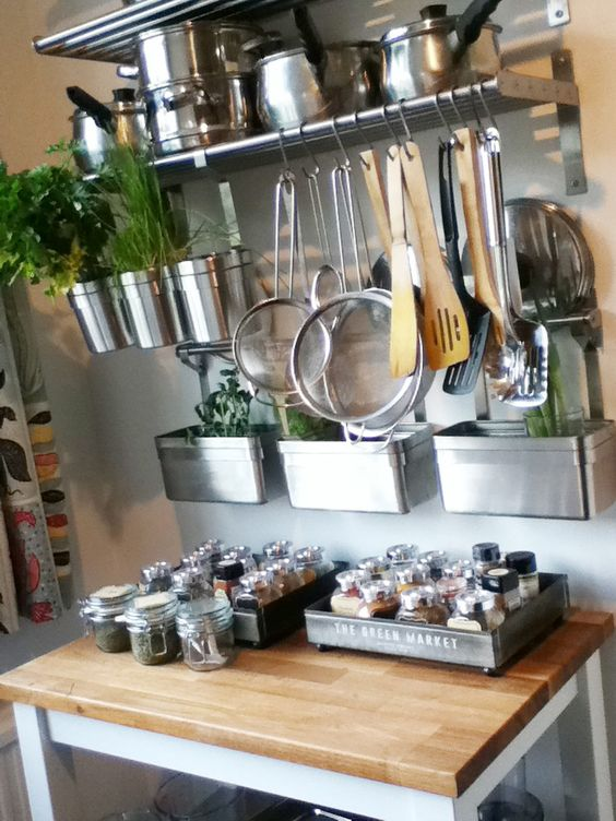 108 IKEA Stenstorp trolley and shelves Spice jars stored in nice little tray from HM home via Simphome