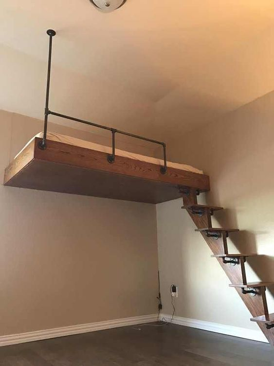 12 DIY Loft Bed with Iron Piping and Oak Simphome