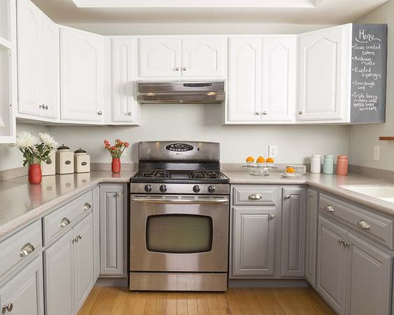 124 2 White and Gray Cabinet Makeover After via simphome