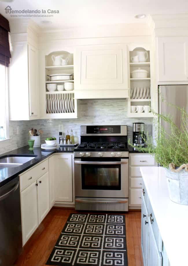 130 220 Fancy Range HoodRemodelando la Casa Kitchen with open cabinets via simphome