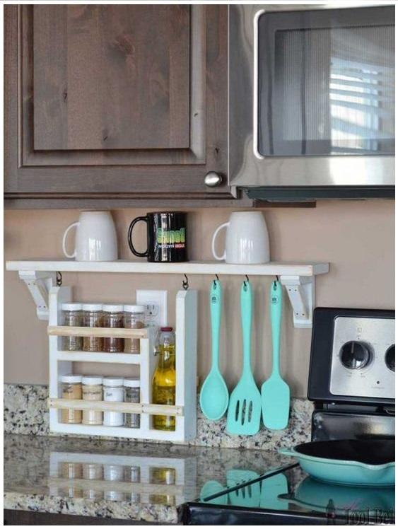 164 Kitchen Backsplash Shelf and Organizer via simphome