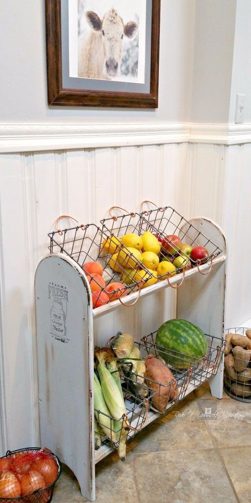 168 Turn a Blanket Rack into a Farmhouse Vegetable Stand via Simphome