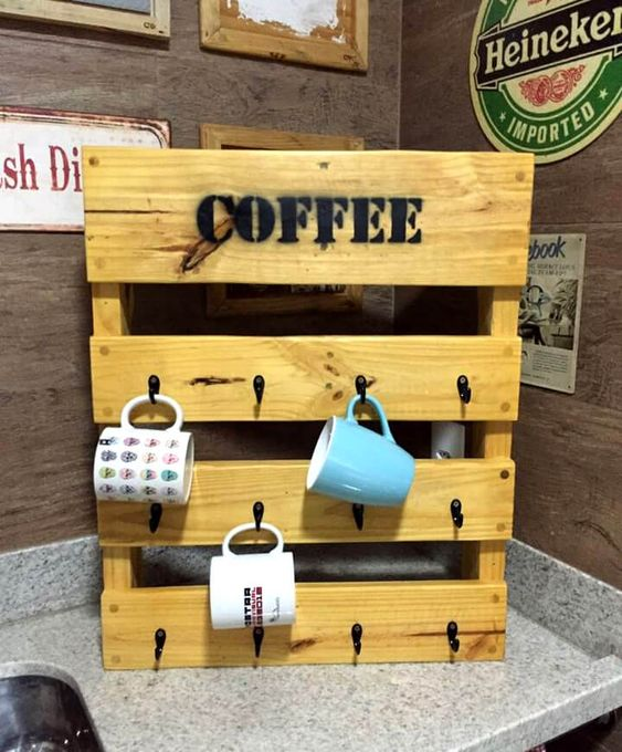 22 Pallet Wood Mug Rack via simphome com