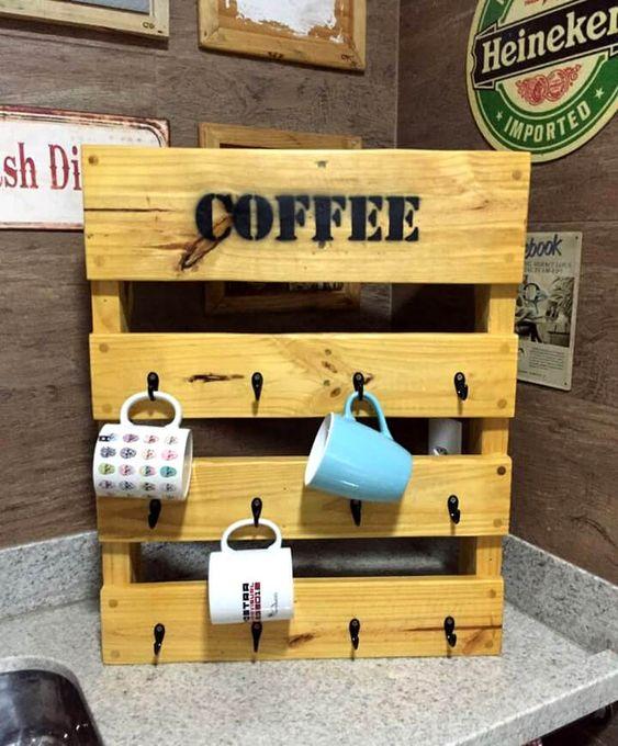 22 Pallet Wood Mug Rack via simphome com