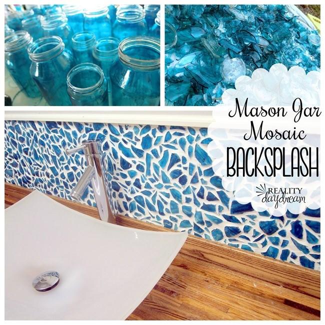 23.Mason Jar Mosaic Backsplash
