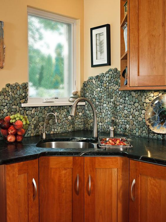 25.$9.99 Sea Green Pebble Tile Kitchen backsplash