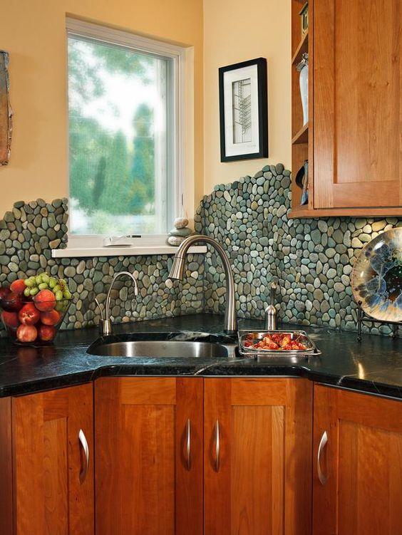 25.$9.99 Sea Green Pebble Tile Kitchen backsplash