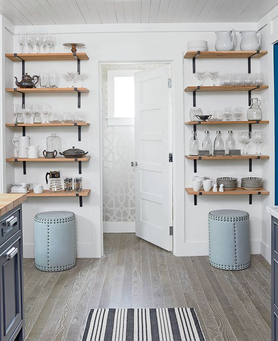 290 Open Kitchen Shelves Farmhouse Style via simphome