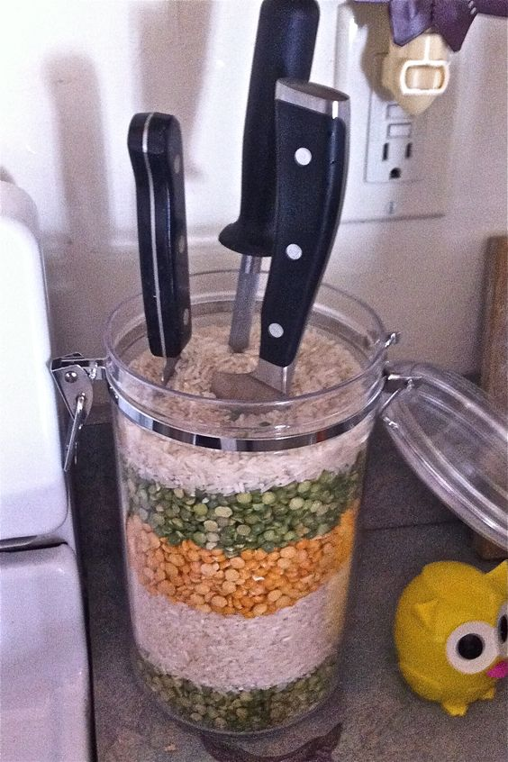 303 kitchen knife storage using rice via simphome